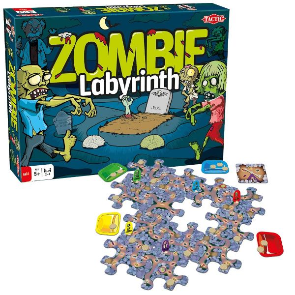 Zombie Labyrinth Family Game - Great For Halloween -- 2 - 4 Players - By Tactic